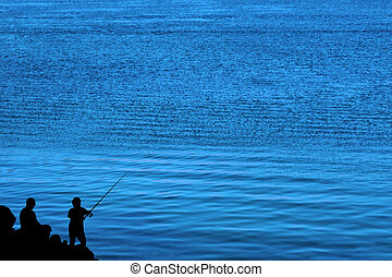 father and son fishing silhouette - a silhouette of a father...