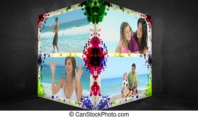 3D Animation-Cube of Family Beach Holiday