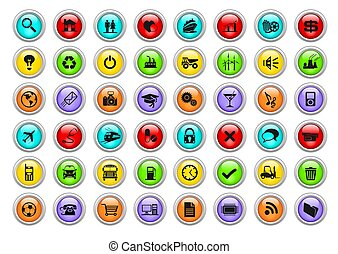 Web icons - An illustration of different colorful web icons