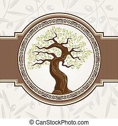 oliva, albero, vettore
