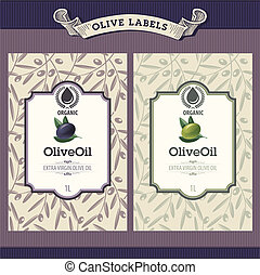 Set of olive oil labels - Set of retro vector olive oil...