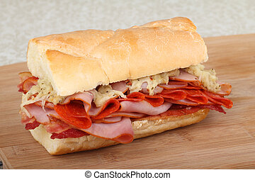 Ham and Pepperoni Sandwich - Ham and pepperoni on french...