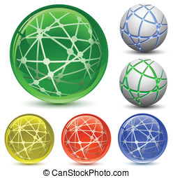 Abstract Globe Icon Set. Communication and Network Concept....
