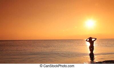 bikini at sunset