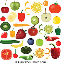 vegetables and fruits - big food set - vegetables and fruits