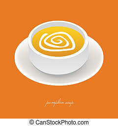 pumpkin soup in white bowl with orange background