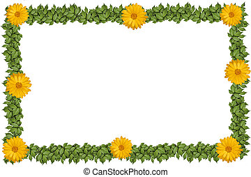 Green plant frame with flowers