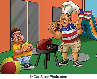 independence day in the playground - boy and father eating...