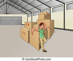 man in the warehouse - wharehouse with some boxes and a man...