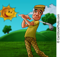 man playing golf - man in a grass field playing golf in a...