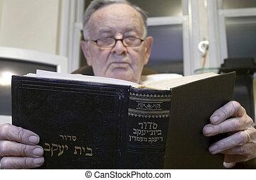 Senior with Jewish Prayer Book - A senior Romanian born...