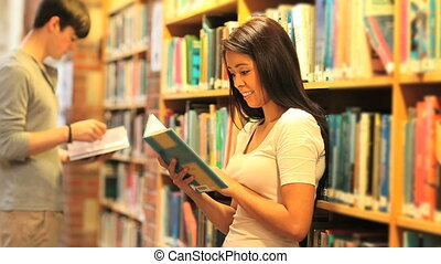 Learning students reading books