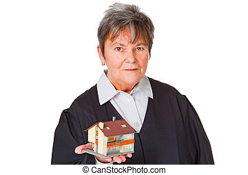 Female lawyer - Female laywer with modell house - isolated...
