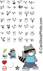 raccoon kid cartoon set1 - raccoon kid cartoon set in vector...
