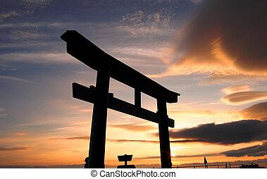 Tori Gate at Mt. Fuji - One of a famous Tori gate at Mount...