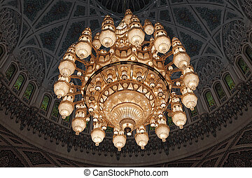 Chandelier in the Grand Mosque in Muscat, Sultanate of Oman