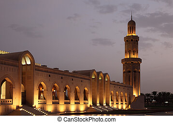 Sultan Qaboos Grand Mosque at night Muscat, Oman
