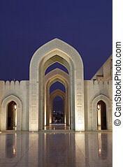 Sultan Qaboos Grand Mosque at night. Muscat, Oman