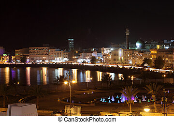 View of Muttrah Corniche at night. Muscat, Sultanate of Oman