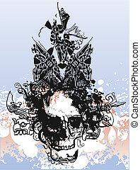 Warlock skull illustration