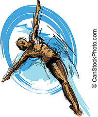 Swimming Diving Vector Sketch Silho - Vector Image of a...