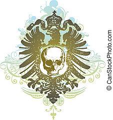 Skull heraldry illustration - Detailed illustration of skull...