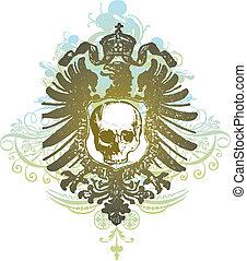 Skull heraldry illustration