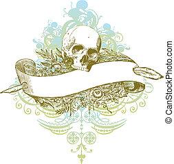Skull banner illustration - Highly detailed banner skull...