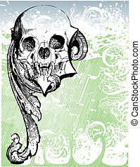 Vampire skull relic illustration - Highly detailed vector...