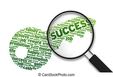 Magnifying Glass - Key to Success - Magnifying Glass with a...