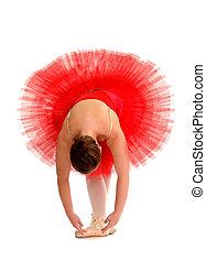 Ballerina in Red Tutu - A Ballerina Stretches in Red Tutu