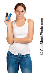 Woman with a stapler - Beautiful smiling woman with a blue...