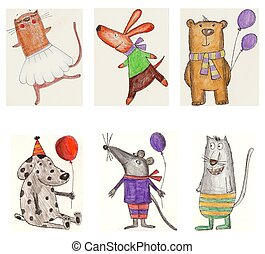 Set of cartoon characters - Illustrations for children