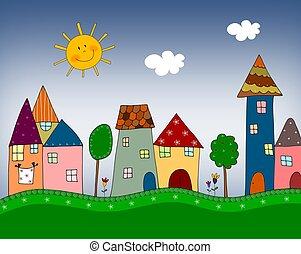 The town - Illustration for children