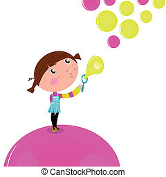 Cute little Kid blowing Soap bubbles isolated on white -...