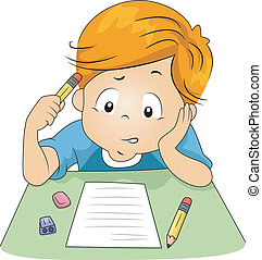 Kid Exam - Illustration of a Kid Answering Test Questions