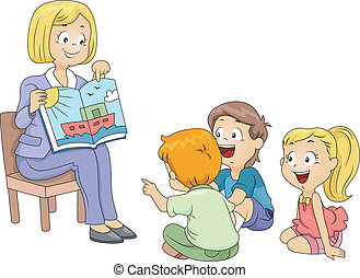 Storytelling - Illustration of Kids Listening to a Story