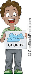 Cloudy Flashcard - Illustration of a Kid Holding a Flashcard