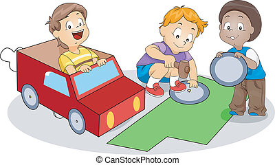 Paper Kart - Illustration of Kids Making Paper Kart