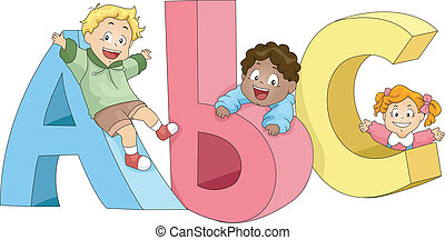 Kids Playing with ABCs - Illustration of Kids Playing with...