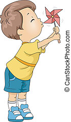 Pinwheel Kid - Illustration of a Kid Playing with a Pinwheel