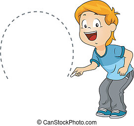 Semicircle - Illustration of a Kid Drawing a Semicircle