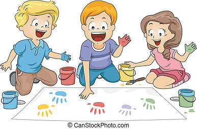 Hand Prints - Illustration of Kids Leaving Hand Prints on a...