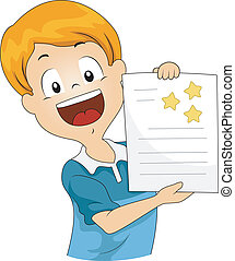 Star Stickers - Illustration of a Kid Showing His Star...