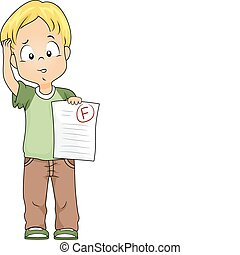 Failing Grade - Illustration of a Kid Holding a Test Paper...