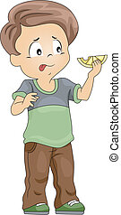 Kid Sour Taste - Illustration of a Kid That Has Just Tasted...