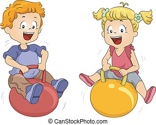 Bouncing Balls - Illustration of Kids Playing with Bouncing...