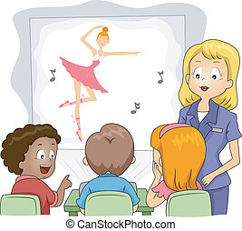 Kids Projector - Illustration of Kids Watching a Show...