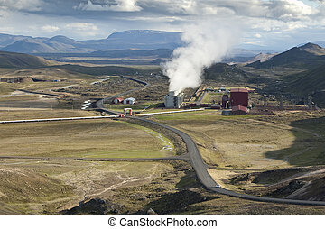 Geothermal power station in volcanic area (Krafla) in...