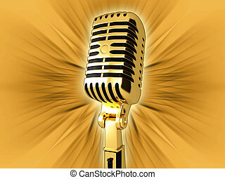 Vintage microphone - Gold vintage microphone on the...